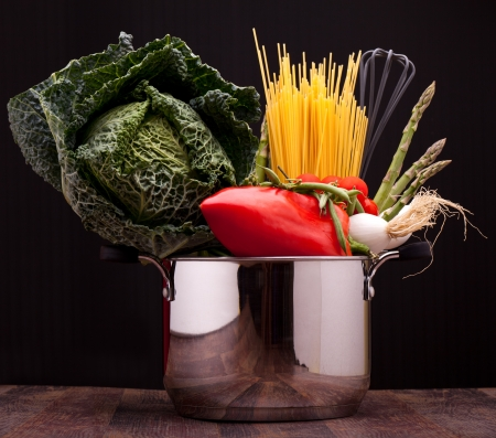 Culinary Ingredients - Pot with vegetables and pasta, basics of mediterranean diet  photo
