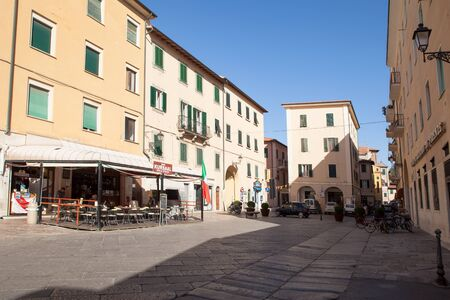 cavour: PORTOFERRAIO, ELBA ISLAND, ITALY - June 17, 2012: An almost empty Cavour Square during the hot central hours of Sunday.