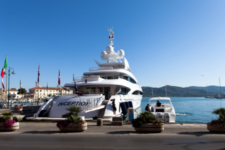 PORTOFERRAIO, ELBA ISLAND, ITALY - June 17, 2012: The superyacht Inception arrives at Portoferraio. Superyacht Inception is the latest addition to the Edmiston charter fleet.