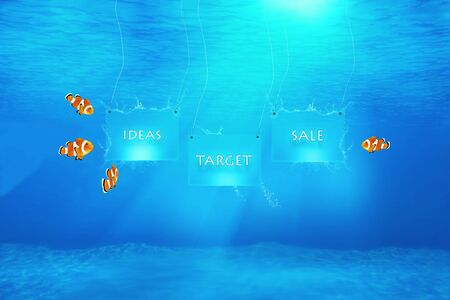 Marketing concept illustrated by claw fish underwater watching banners with words: ideas, target, sale. photo
