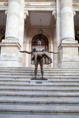 naked statue: Naked Statue Of Emperor Trajan, Bucharest, Romania - The statue made by late sculptor Vasile Gorduz was praised by the Bucharest Mayor Sorin Oprescu who launched his campaign re-election on the same day when it unveiled the so-called art object