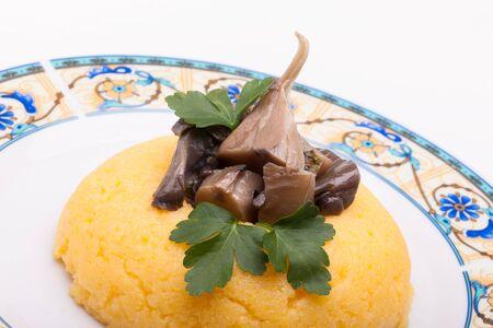mush: Closeup of corn mush  with mushrooms