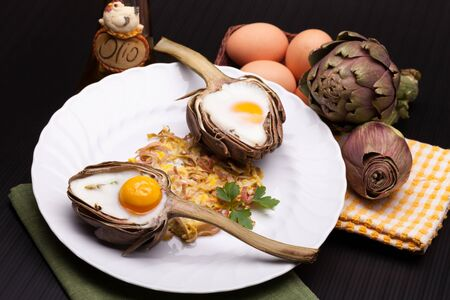 Eggs Baked In Artichoke - Creative breakfast for Valentine s day with eggs baked in artichoke half  photo
