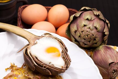 Creative Artichoke Eggs - Creative breakfast for Valentine s day with egg baked in artichoke half  photo