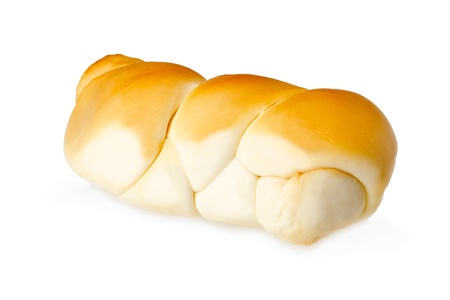 scamorza cheese: Italian smoked braided cheese isolated on white background  Stock Photo