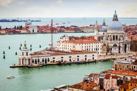 Venice view of Punta della Dogana and Santa Maria della Salute church  Stok Fotoğraf