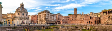 Panoramic view of Imperial Forums in Rome, Italy. photo