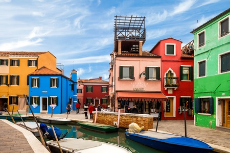 BURANO, ITALY - FEBRUARY 23: Beginnings of touristic season at the famous restaurant Riva Rosa in Burano with the first  beautiful sunny days of this year - February 23, 2013, in Burano.