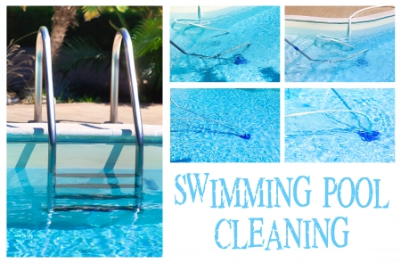 Collage with different pictures showing the swimming pool cleaning