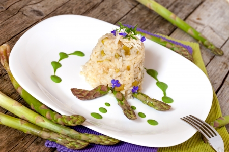 Italian Cuisine - Plate with asparagus risotto