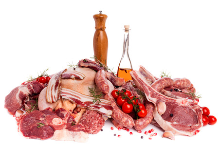 veal sausage: Raw meat mix  steaks,  poultry, sausages, ham, chopped, minced