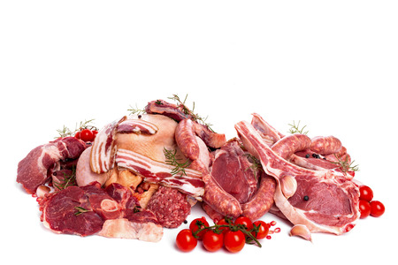 Raw meat mix  steaks,  poultry, sausages, ham, chopped, minced  photo