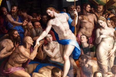 FLORENCE, ITALY - OCTOBER 3: Detail of the famous painting The Descent of Christ to Limbo, created in 1552 by Agnolo di Cosimo called Il Bronzino. Detail showing two of the florentine beauties, Camilla Teldaldi dal Corno and Costanza della Sommaia, sittin