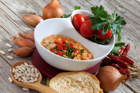 Bowl with mashed Cannellini beans soup. Stock Photo