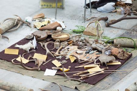 expositor: ROMA, Italia - 16 de febrero 2014: En Fiera di Roma, durante la Exposici�n Experience Aire libre, una colecci�n de restos arqueol�gicos se muestra en el interior del stand de la asociaci�n cultural Orme de Abruzzo, Italia, especializada en arqueolog�a experimental
