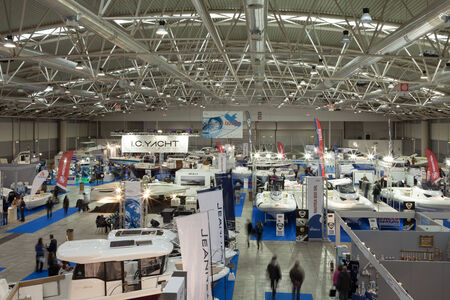 sud: ROME, ITALY - FEBRUARY 16, 2014: At Fiera di Roma, during the Big Blue Expo, stands of Alimar, Jeanneau, Honda, I.C. Yacht, Nautica Sud.