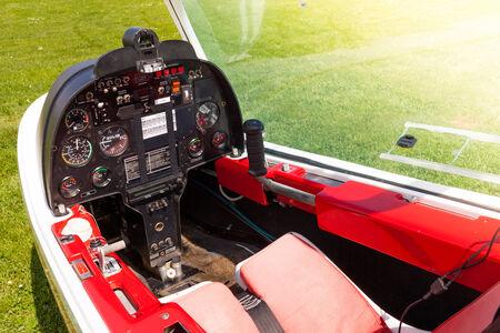 altimeter: Control board in the small cockpit of a microlight plane.