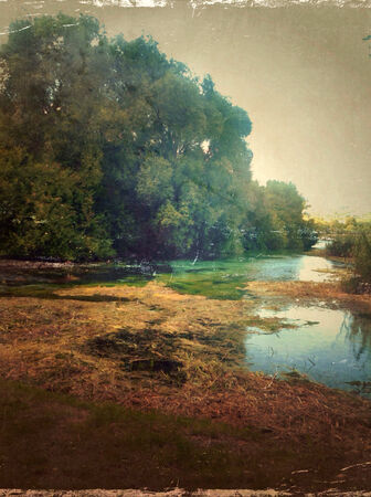 Vintage illustration with water springs and forest at dusk. Stock Illustration - 29984595