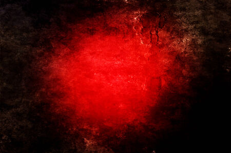 bright center: Abstract red background with bright center of vivid red, black vignette and grunge texture.