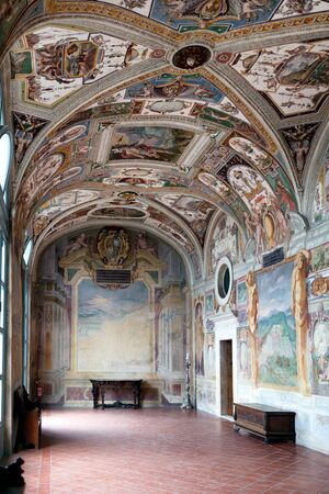 Grotesques frescoes in Casino Gambara at Villa Lante which depicts properties of Farnese family. Bagnaia, Viterbo province, Italy.