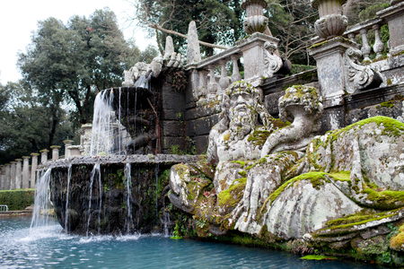 tiber: Detail of the Giants Fountain with statue representing the personification of Tiber river. Villa Lante, Bagnaia, Viterbo province, Italy. Editorial