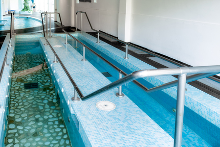 health resort treatment: Basins for vascular therapy which consists of walking with legs immersed alternately in hot and cold water; the effect is that of a vascular gymnastics which reactivates the circulation improving the  vasomotor function.