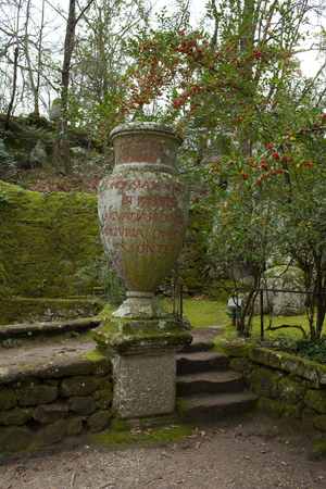 antique vase: Antique ceramic vase in The Park of The Monsters, Bomarzo, Italy. Stock Photo
