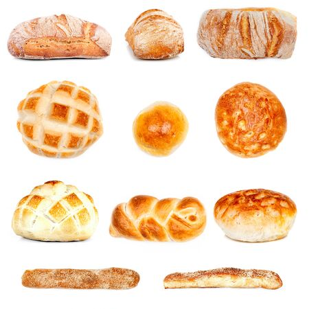 Collage of various bread types isolated on white background. photo
