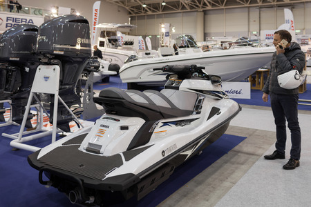 motorboats: ROME, ITALY - FEBRUARY 26, 2015: Boat Show Rome 2015 edition, focused on small sized marine products, sailboats, motorboats, RIBs and inflatables up to 15 mt. Editorial