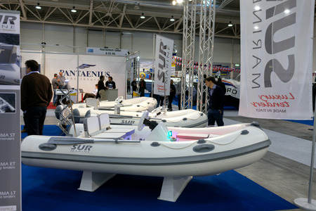 motorboats: ROME, ITALY - FEBRUARY 26, 2015: Boat Show Rome 2015 edition, focused on small sized marine products, sailboats, motorboats, RIBs and inflatables up to 15 mt.  Sur Marine stand. Editorial