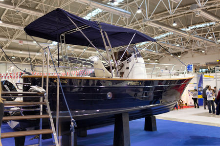 motorboats: ROME, ITALY - FEBRUARY 26, 2015: Boat Show Rome 2015 edition, focused on small sized marine products, sailboats, motorboats, RIBs and inflatables up to 15 mt.  Mimi stand.
