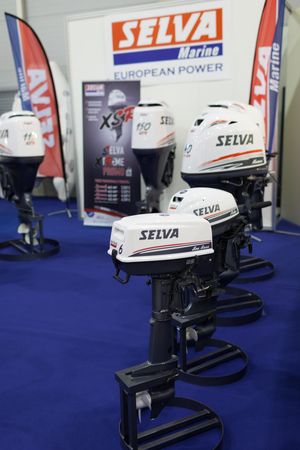 selva: ROME, ITALY - FEBRUARY 26, 2015: Boat Show Rome 2015 edition, focused on small sized marine products, sailboats, motorboats, RIBs and inflatables up to 15 mt. Selva stand.