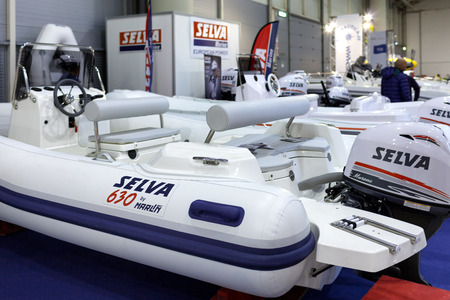 selva: ROME, ITALY - FEBRUARY 26, 2015: Boat Show Rome 2015 edition, focused on small sized marine products, sailboats, motorboats, RIBs and inflatables up to 15 mt.  Selva Stand. Editorial