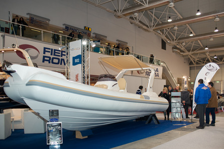 motorboats: ROME, ITALY - FEBRUARY 26, 2015: Boat Show Rome 2015 edition, focused on small sized marine products, sailboats, motorboats, RIBs and inflatables up to 15 mt. Oromarine stand.
