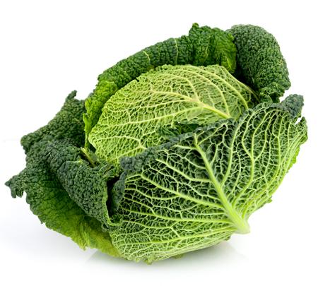 savoy cabbage: Savoy cabbage on white background.