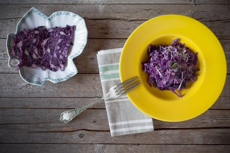 salts: Above view of yellow plate with red cabbage risotto, traditional Italian cuisine recipe. The red cabbage is rich in vitamins and mineral salts.