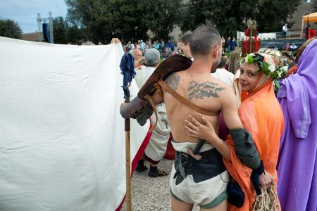 founding: ROME, ITALY - APRIL 19, 2015: Birth of Rome festival - Actors dressed as ancient Roman Praetorian soldiers attend a parade to commemorate the 2,768th anniversary of the founding of Rome.