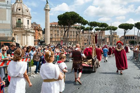 praetorian: ROME, ITALY - APRIL 19, 2015: Birth of Rome festival - Actors dressed as ancient Roman Praetorian soldiers attend a parade to commemorate the 2,768th anniversary of the founding of Rome.