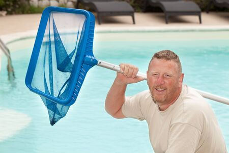 cleaner: Middle aged Caucasian man, professional swimming pool cleaner.