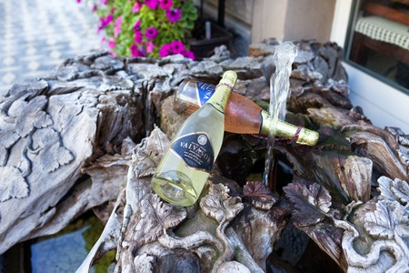 bodegas: LJUBLJANA, SLOVENIA - AUGUST 31, 2015: Bottles of Valvasor sparkling wine produced by Vinska-Klet-Mastnak wineries in Slovenia.