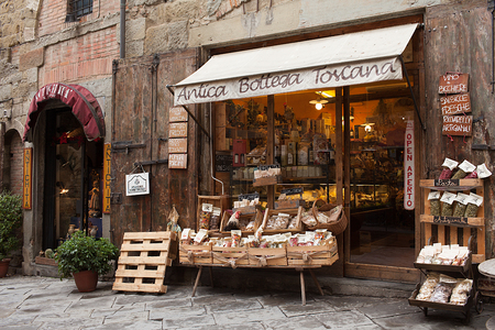 alimentary: AREZZO, ITALY - JANUARY 9, 2016: Antica Bottega Toscana, one of the oldest shops of the city of Arezzo where are sold the most typical alimentary products of Tuscany.