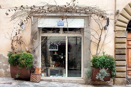 furnishings: AREZZO, ITALY - JANUARY 9, 2016: La Casa Dei Sogni, beautiful decor and furnishings for the house store in Provencal style and shabby chic developed inside the ancient bishops palace in the city.
