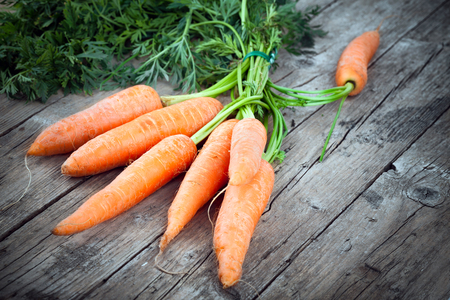 biological: Freshly harvested carrots, biological agriculture product, on old wooden table. Stock Photo