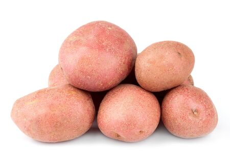 Red potatoes isolated on white background. Stok Fotoğraf