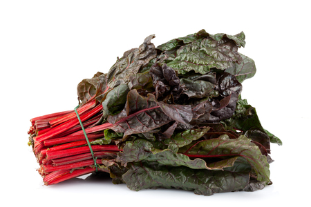 Bunch of red chard isolated on white background.