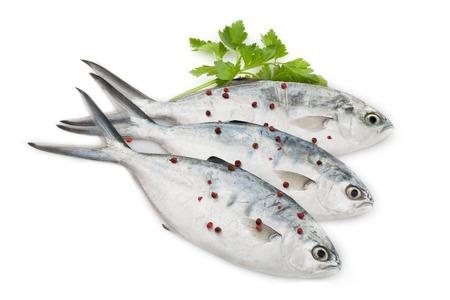 poisson trevally Raw avec persil et rouge poivre, isolé sur fond blanc.