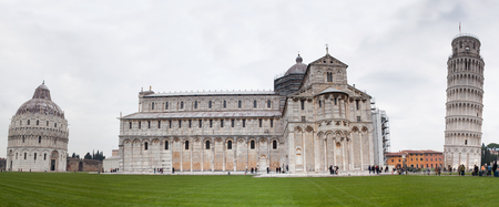 campo dei miracoli: PISA, ITALY - JANUARY 23, 2016: Square of Miracles with the Leaning Tower, Cathedral and Baptistery, recognized as an important center of European medieval art and one of the finest architectural complexes in the world.