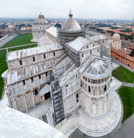 campo dei miracoli: Cathedral and Campo dei Miracoli viewed from the leaning tower, Pisa, Italy. Stock Photo