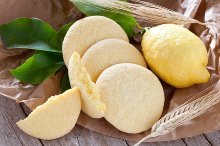 Bakery products: shortbread cookies with lemon flavor. Stock Photo