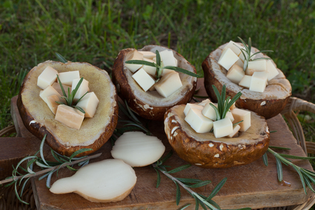 scamorza cheese: Porcini mushrooms filled with scamorza cheese and rosemary, ready to be grilled. Stock Photo